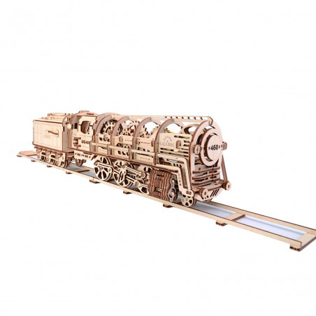 Steam Locomotive with Tender - Mechanical 3D Puzzle