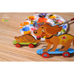 Kitten and Puppy - Colouring 3D Puzzle