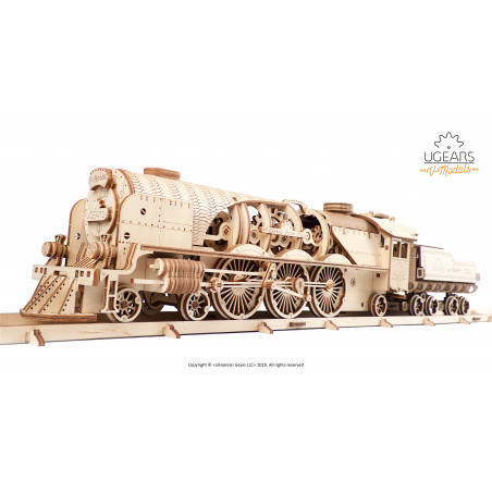 V-Express Steam Train with Tender - Mechanical 3D Puzzle